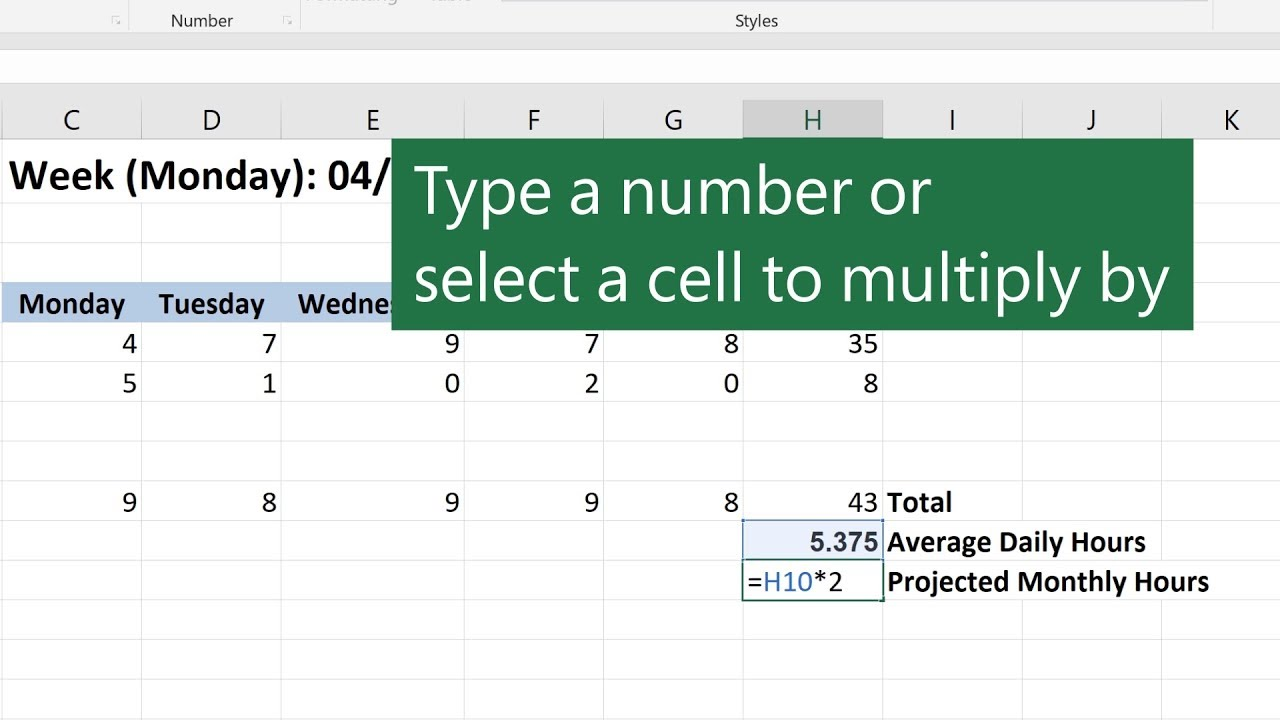 Multiplication In Microsoft Excel Youtube