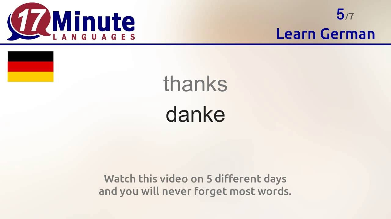 Learn the 30 most important words in German!