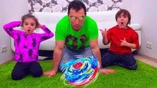 Камиль и Аминка ЗАГИПНОТИЗИРОВАЛИ ПАПУ c помощью BAYBLADE? Для Детей kids children