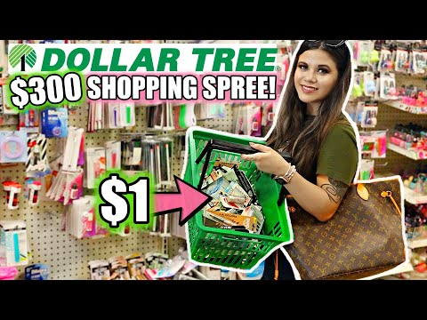 DOLLAR TREE GIRLY $300 SHOPPING SPREE! *I BOUGHT 300 THINGS*
