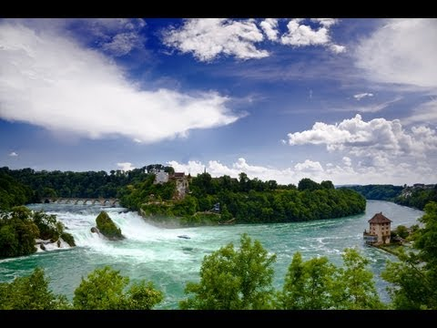 Fantastic Waterfalls Rhinefall in Switzerland