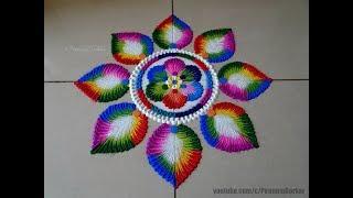 Bright and colorful rangoli for Holi | Easy rangoli designs by Poonam Borkar