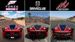 forza horizon 3 vs driveclub vs assetto corsa   ferrari fxx k sound comparison ps4 xbox one