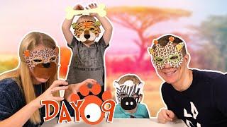 Первый челлендж Левы. День 9. Делаем маски животных. Лева открывает адвент календарь.