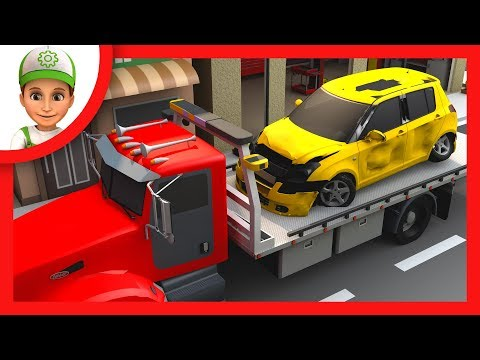 Kids story in which Hady Andy helps the boy.  Cartoon with police car and an ambulance car
