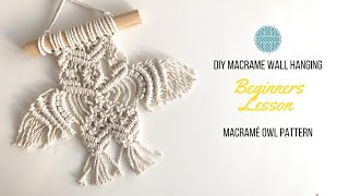 Macrame Owl Wall Art | Macrame Project | Beginners Macrame Owl Pattern | Wall Hanging Pattern