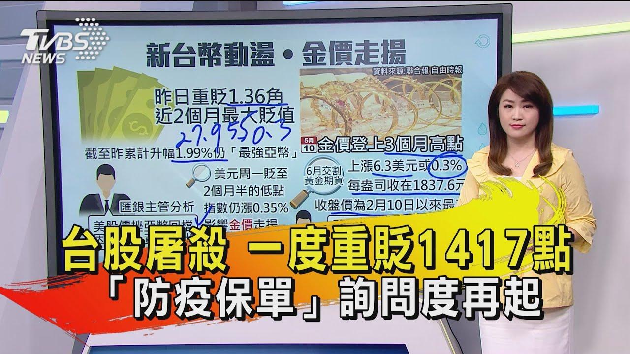 台股屠殺 一度重貶1417點  「防疫保單」詢問度再起 【TVBS說新聞】20210512