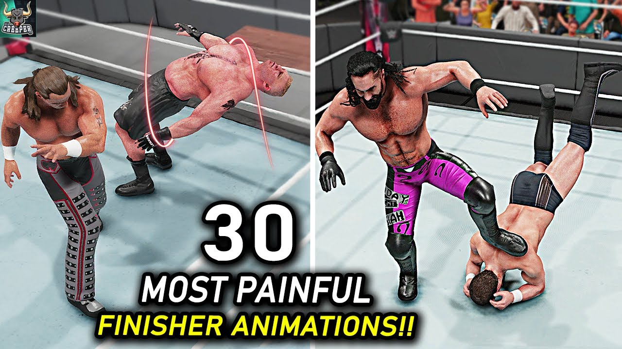 Top 30 Most Painful Finisher Animations!! WWE 2K22 Countdown