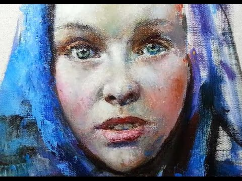 PALETTE KNIFE PORTRAIT PAINTING. Russian art with MFA Sergey