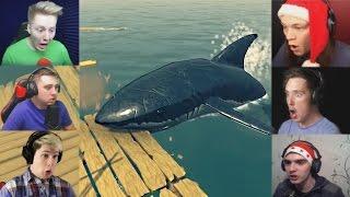 """""""Реакции Летсплейщиков"""" на Нападение Акулы из Raft"""