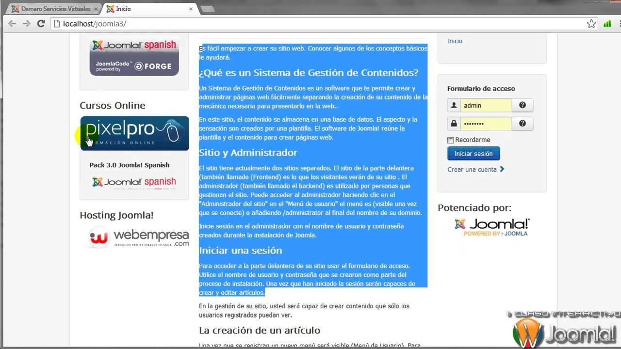 Joomla 3.0 - Panel de Control y Configuración Global de Joomla 3.0 ...