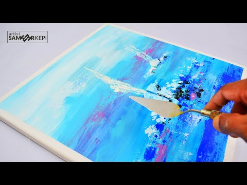 Acrylic painting / Abstract Painting / Sailboat Painting / Daily Art for Beginners