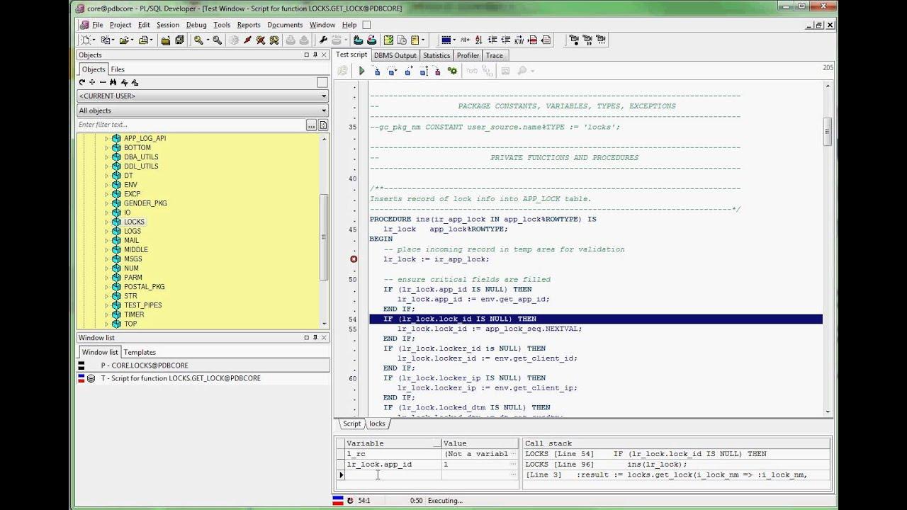 PL/SQL Developer Debugger