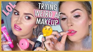Trying WEIRD Gimmicky & VIRAL Makeup 👀 WTF 🙄 IS IT GOOD?