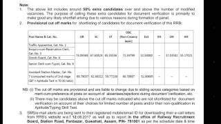 Guwahati Board Final result declare RRB NTPC Result Out Check Cutoff and Document verification date 2017 Video