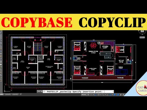 AutoCAD Copy Object From One Drawing To Another Drawing | (CopyBase & CopyClip Command) | CAD CAREER