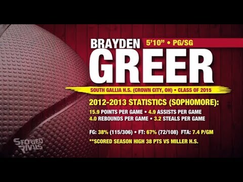 "BASKETBALL RECRUIT: Brayden Greer, 5'10"" PG/SG (South Gallia HS • Ohio) Class of 2015"