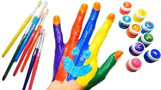 Раскрашиваем пальчики красками и учим цвета на английском языке Детская Песенка про пальчики