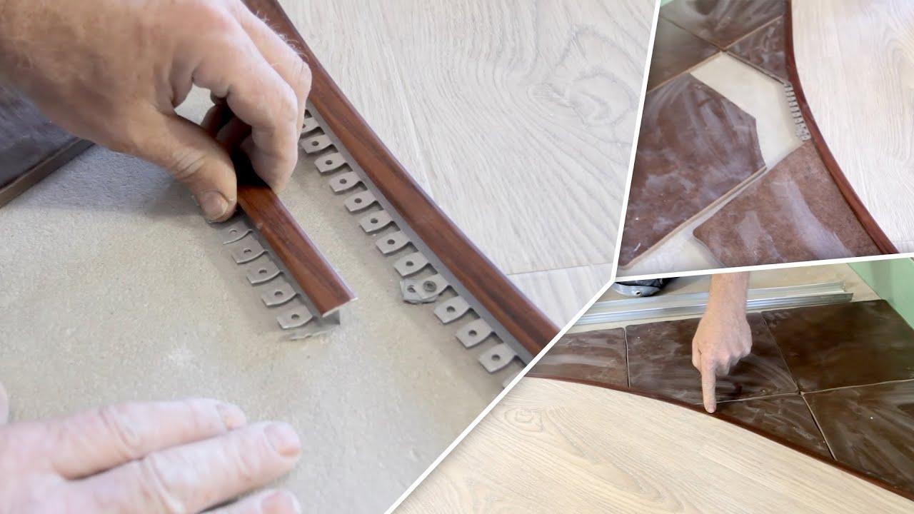 3 окт 2014. Инструкция об установке гибкого профиля-порога между ламинатом и керамической плиткой. О методах соединения плитки и ламината.