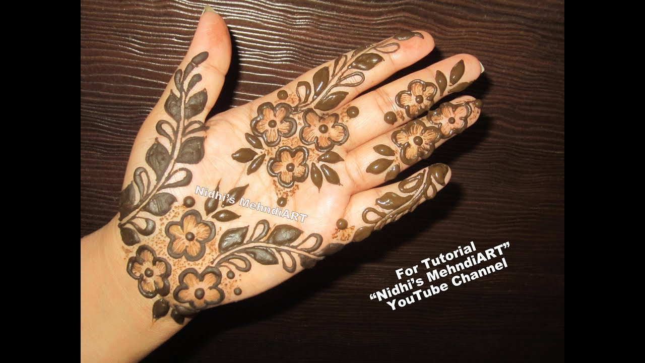 Easy Floral Mehndi design Video for Front Hand - YouTube