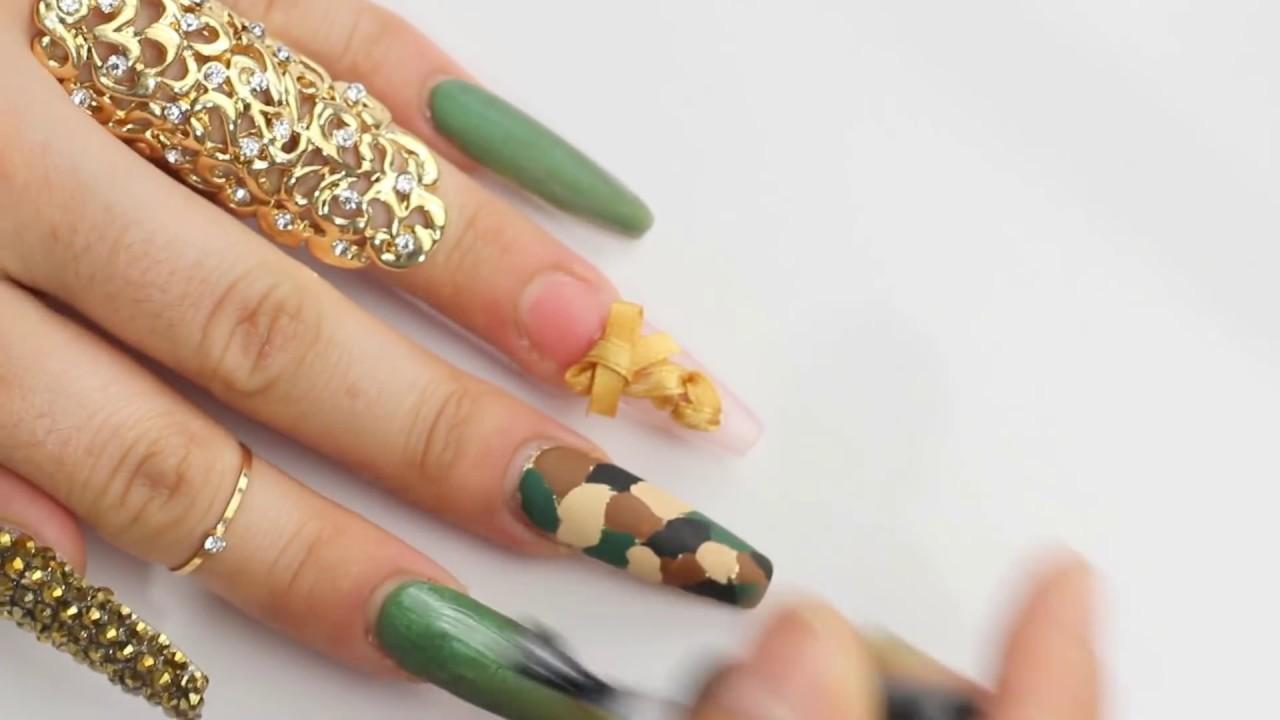 uñas militar verde Esmeralda comuflaje - YouTube