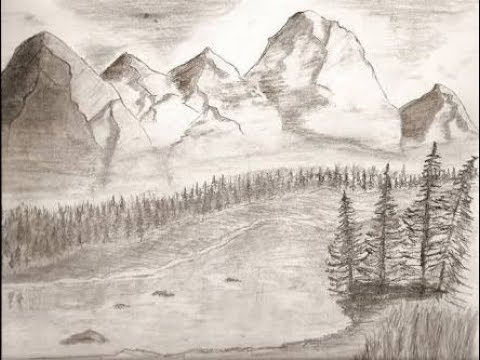 Beginners mountain landscape drawing tutorial