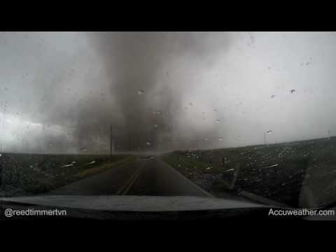 Raw up-close GoPro footage of EF3 tornado roping out S of Dodge City, KS