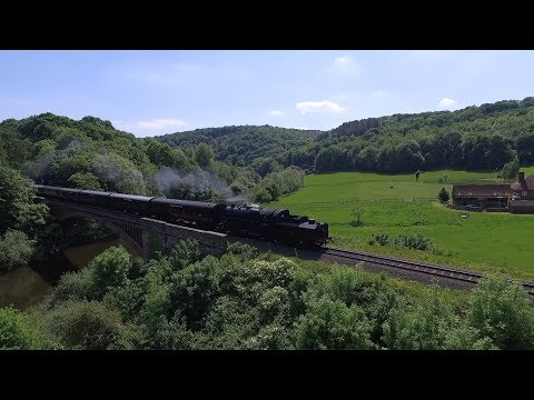 Severn Valley Railway SVR aerial video at Victoria Bridge Arley