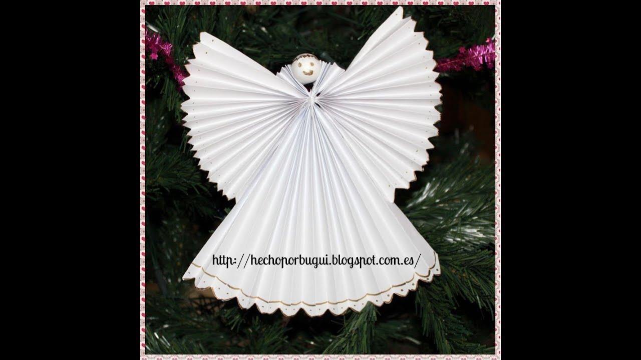 Como hacer un abeto y angel de papel decoraci n de for Como hacer adornos para navidad