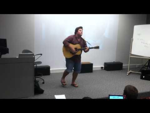 Brett Musslewhite sings for TCU class
