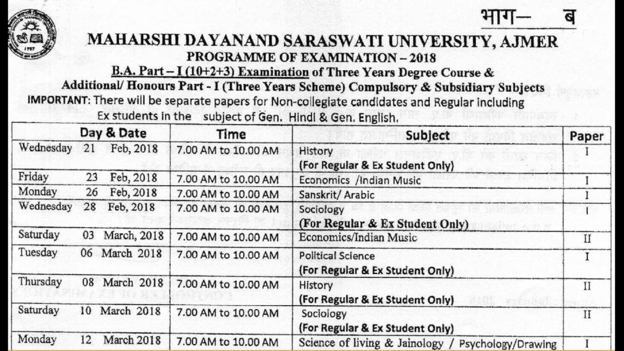 Arts B  A  Part 1st Year Exam Time Table 2018 || Date Sheet For Exam 2018  || Mdsu Ajmer