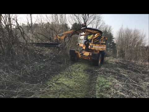 Mecalac 11 CXi Mobile Excavator with Fence Cutter