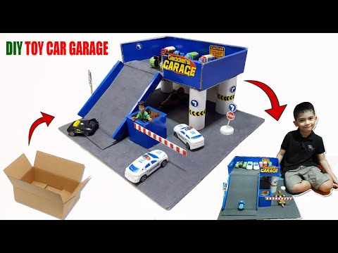 diy-miniature-cardboard-car-garage-|-diy-toy-car-garage-using-cardboard-box
