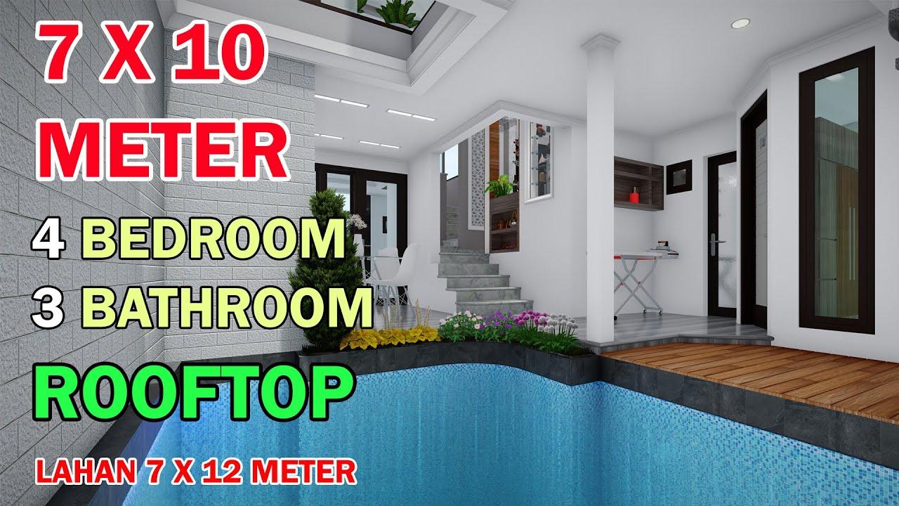 Split Level House 7x10 Meter 4 Kamar 3 Toilet Mushola Swimmingpool Rooftop Di Lahan 7x12 Meter Youtube