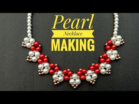 Pearl Necklace Making//At Home//Hand Made Jewellery// Useful & Easy