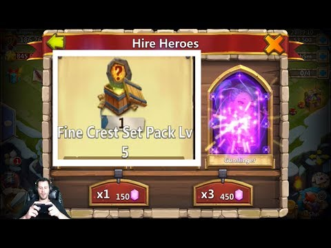 GunSlinger FIRST 450 ROLL 55000 Gems + Level 5 Crest Set Pack Castle Clash