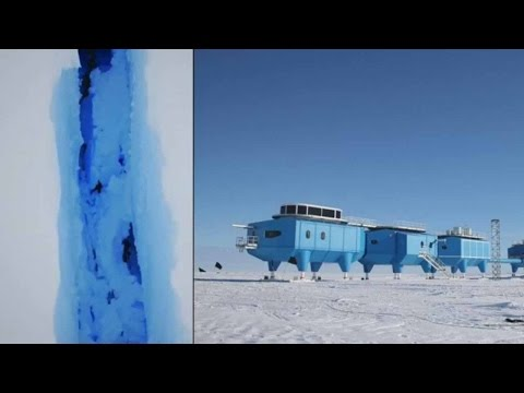 Antarctic ice shelf rift forces UK scientists to leave