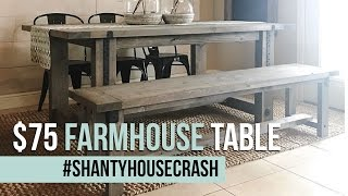 $75 Farmhouse Dining Table Build | #ShantyHouseCrash