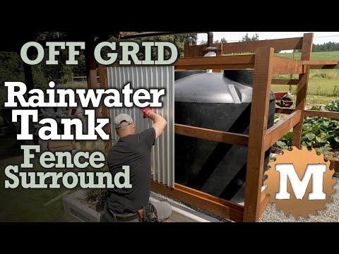 Rainwater Harvesting Tank - cedar & corrugated steel fence surround [OFF GRID]