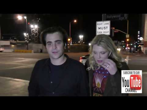 Courtney Love and Nicholas Jarecki talks about Cubs winning World Series outside The Pantages Theatr
