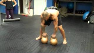 Double 48kg Kettlebell Clean Squat Press