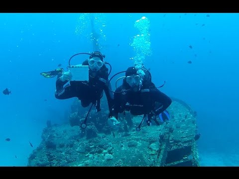 Scuba Diving a Shipwreck in Mauritius!!! Friggin' cool!  20 to 24 meters