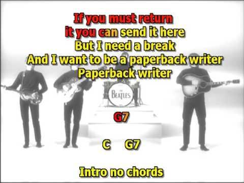 Paperback Writer Beatles best karaoke instrumental lyrics chords