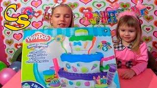 Праздничный торт Плей До. Как  сделать большой праздничный торт  из набора пластилина Play Doh.