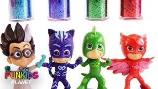 Learn Colors Videos for Kids: PJ Masks & Paw Patrol Glitter Mess Bath time