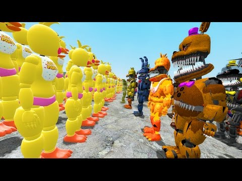 1000+ NIGHTMARE ANIMATRONICS vs ARMY OF TOY CHICAS! (Gmod FNAF Sandbox Funny Moments) Garry's Mod