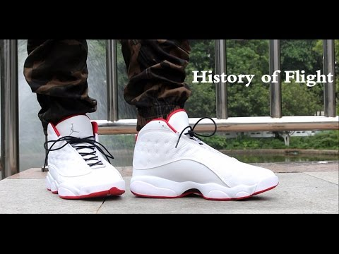 "582b35f96 Air Jordan 13 ""History of Flight"" on feet - YouTube"