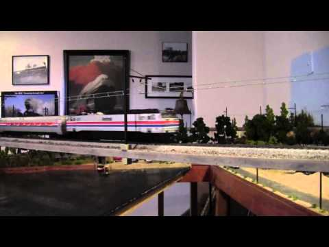HO Model Railroad Bachmann E60CP Amtrak 971 under Catenary