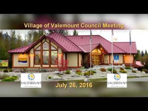 Village of Valemount Council - July 26, 2016