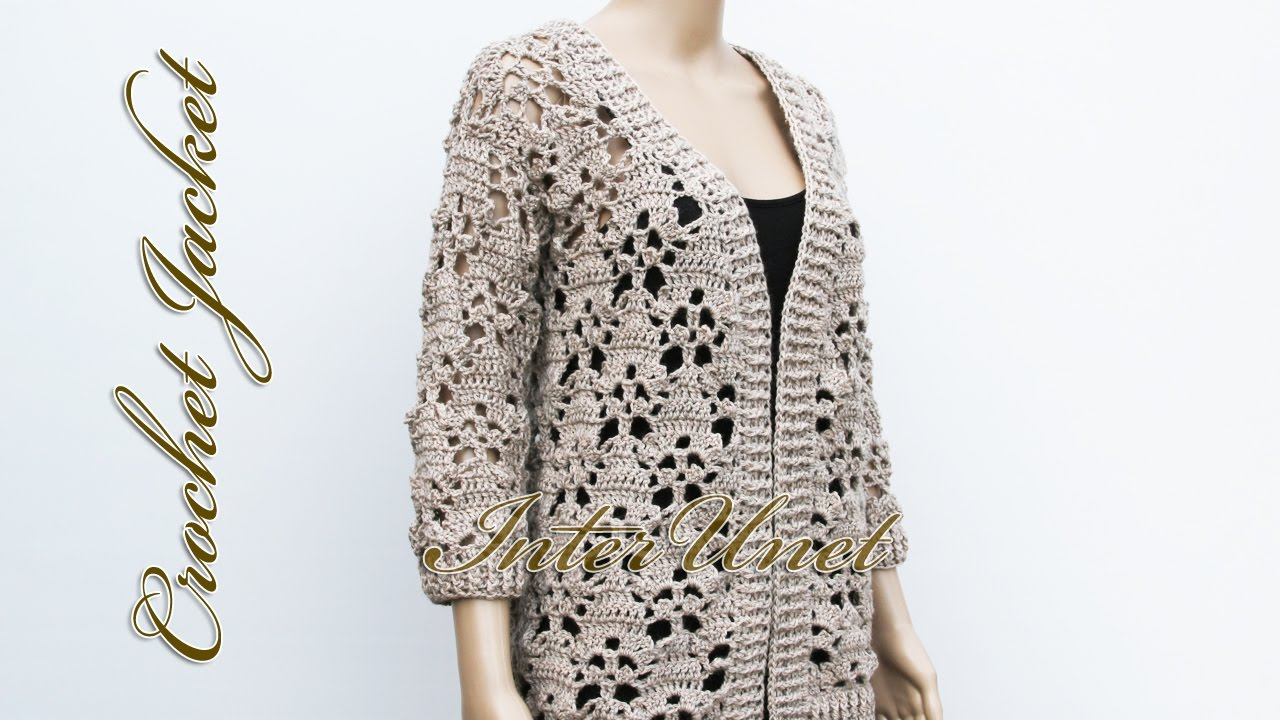 Crochet sweater cardigan with sleeves - YouTube